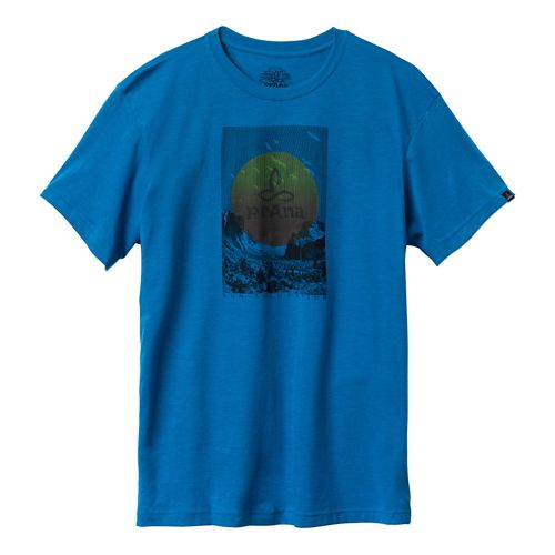 Mens Prana Daybreak Short Sleeve Non-Technical Tops - Danube Blue S