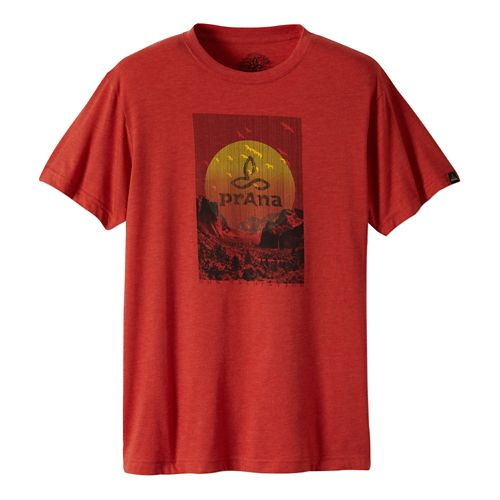 Mens Prana Daybreak Short Sleeve Non-Technical Tops - Red Clay M
