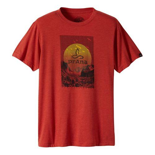 Mens Prana Daybreak Short Sleeve Non-Technical Tops - Red Clay XL