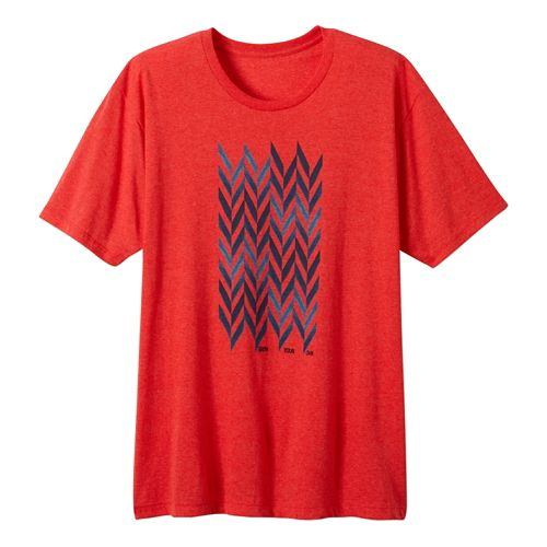 Mens Prana Grow Short Sleeve Non-Technical Tops - Red Heather S
