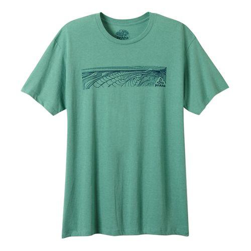 Mens Prana Coastal Short Sleeve Non-Technical Tops - Kelly Heather XL