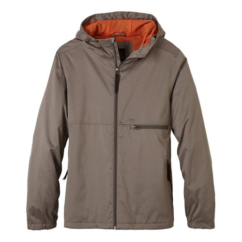 Mens Prana Grayson Warm Up Hooded Jackets - Earth Grey L