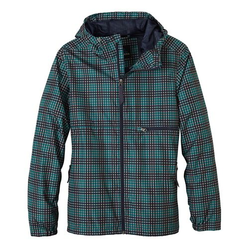 Mens Prana Grayson Warm Up Hooded Jackets - True Teal Plaid M