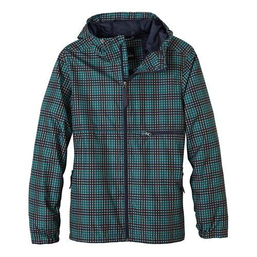 Mens Prana Grayson Warm Up Hooded Jackets - True Teal Plaid XXL