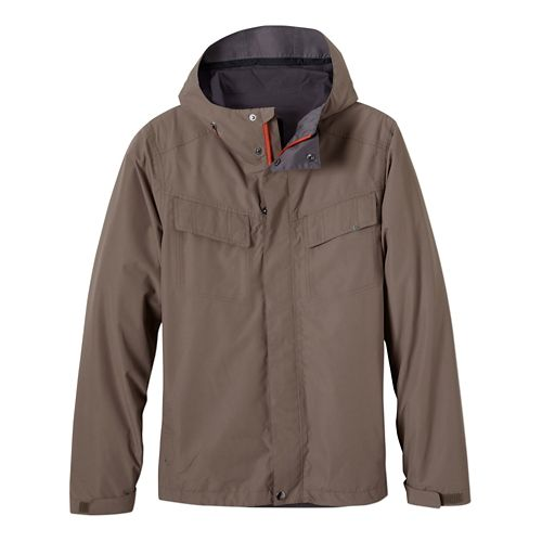 Mens Prana Syncline Warm Up Unhooded Jackets - Mud L