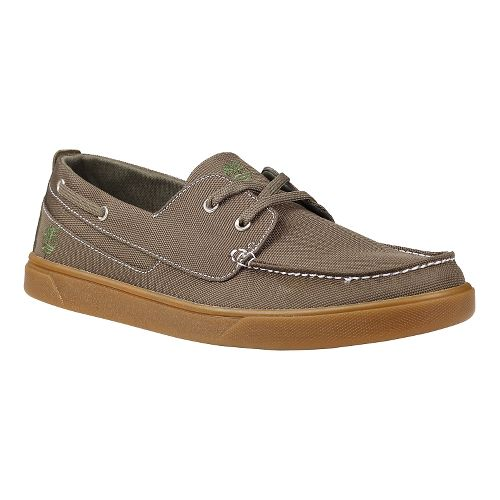 Mens Timberland Groveton Boat Oxford Casual Shoe - Olive Canvas 14