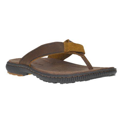 Mens Timberland EK Hollbrook Flip Sandals Shoe - Dark Brown 11