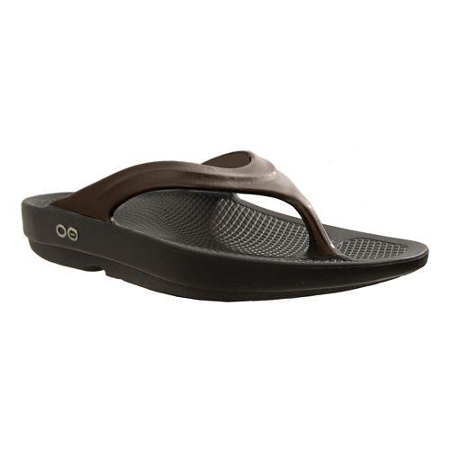 Womens OOFOS OOlala Sandals Shoe - Black/Latte 6