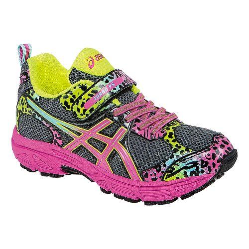 Kids ASICS PRE Turbo PS Girls Running Shoe - Charcoal/Rainbow 13
