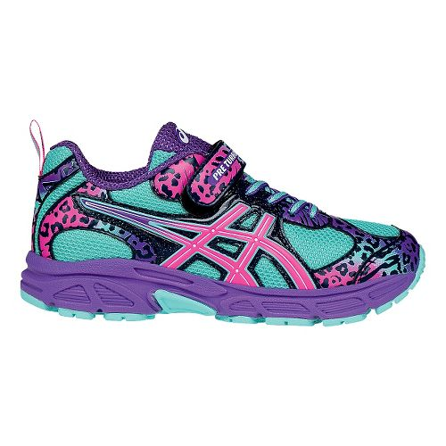 Kids ASICS PRE Turbo Running Shoe - Turquoise/Hot Pink 13C