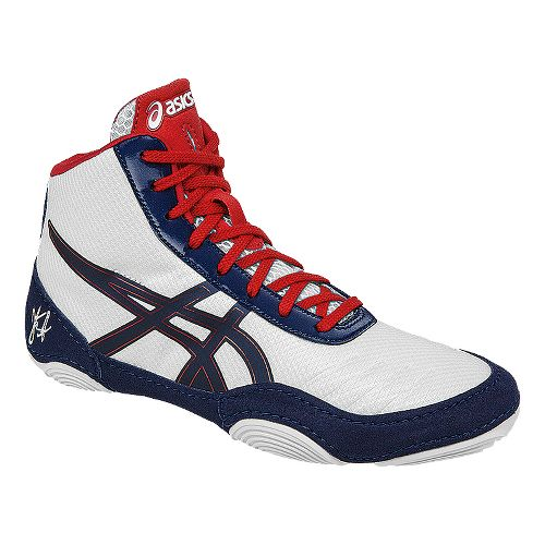 Kids ASICS JB Elite V2.0 Pre School Wrestling Shoe - White/Red 2.5Y