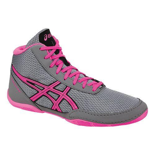 Kids ASICS Matflex 5 Pre/Grade School Wrestling Shoe - Grey/Pink 3Y