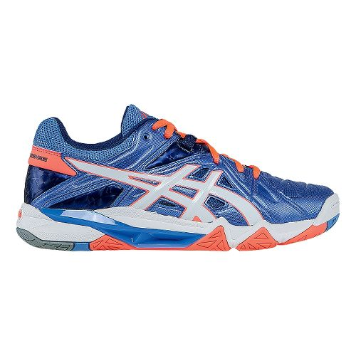 Womens ASICS GEL-Cyber Sensei Court Shoe - Powder Blue/White 7.5