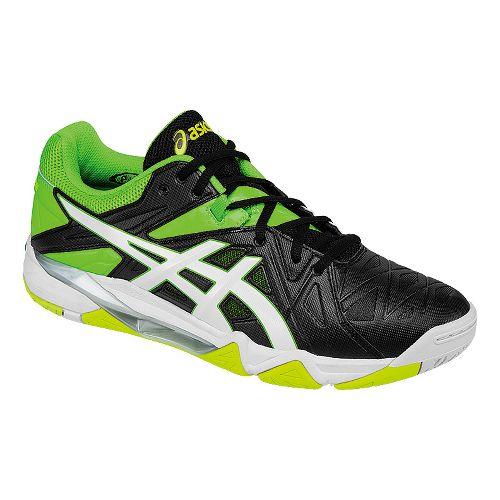 Mens ASICS GEL-Cyber Sensei Court Shoe - Black/Green 12.5