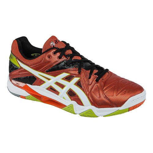 Mens ASICS GEL-Cyber Sensei Court Shoe - Cherry Tomato/White 7.5