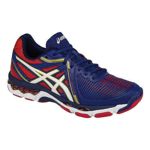 Womens ASICS GEL-Netburner Ballistic Court Shoe - Blue/White/Red 6.5