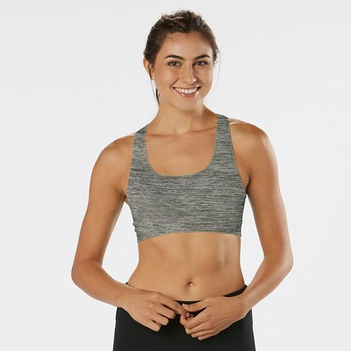Womens Road Runner Sports Undercover Seamless Racerback Sports Bra - Charcoal/Dove Grey XS