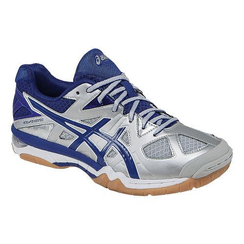 Womens ASICS GEL-Tactic Court Shoe - Silver/Royal 7.5