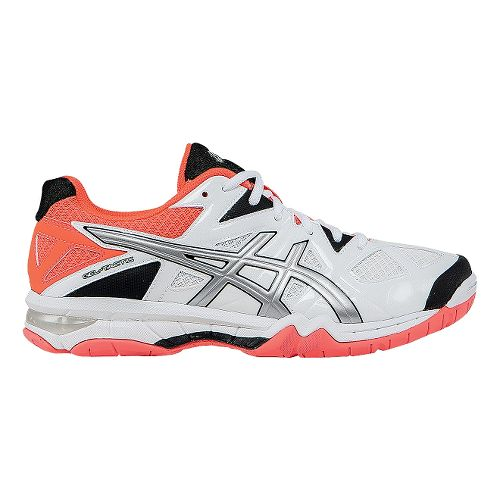 Womens ASICS GEL-Tactic Court Shoe - White/Flash Coral 10.5