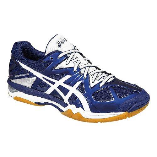 Womens ASICS GEL-Tactic Court Shoe - Blue/White/Silver 9.5