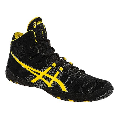Mens ASICS Dan Gable Ultimate 4 Wrestling Shoe - Black/Yellow 12.5