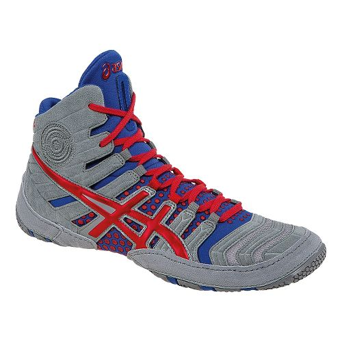 Mens ASICS Dan Gable Ultimate 4 Wrestling Shoe - Gray/Red 8.5