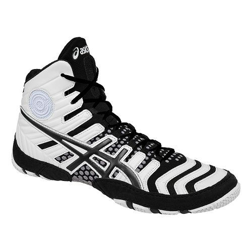 Mens ASICS Dan Gable Ultimate 4 Wrestling Shoe - White/Black 10
