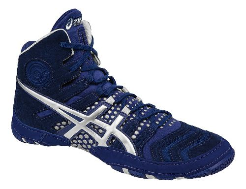 Mens ASICS Dan Gable Ultimate 4 Wrestling Shoe - Blue/Silver 9.5
