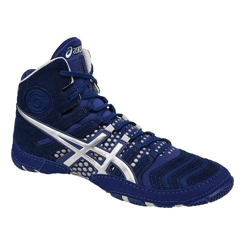 Mens ASICS Dan Gable Ultimate 4 Wrestling Shoe - Blue/Silver 11.5