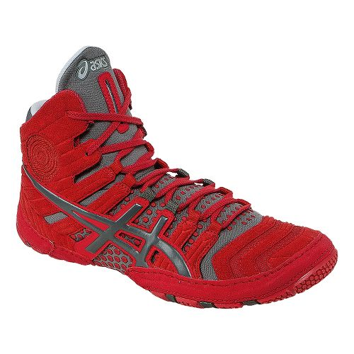 Mens ASICS Dan Gable Ultimate 4 Wrestling Shoe - Red/Gunmetal 6