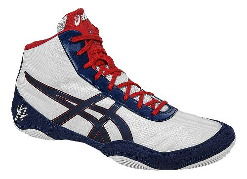 Mens ASICS JB Elite V2.0 Wrestling Shoe - White/Navy 8