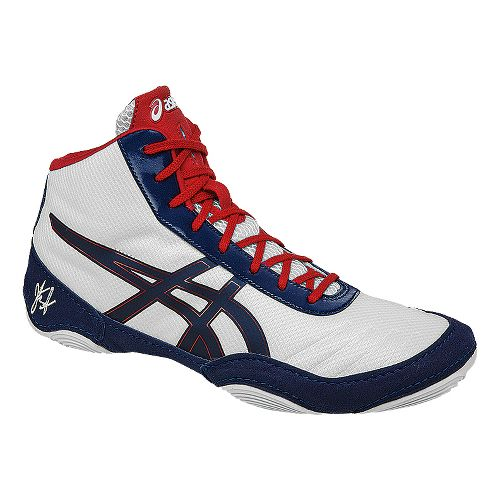 Mens ASICS JB Elite V2.0 Wrestling Shoe - White/Navy 10.5