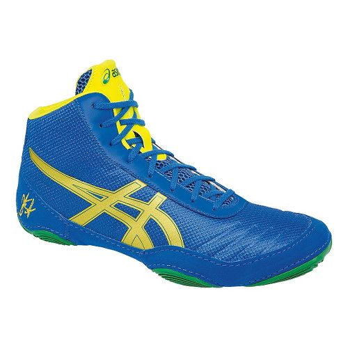 Mens ASICS JB Elite V2.0 Wrestling Shoe - Blue/Yellow 9.5