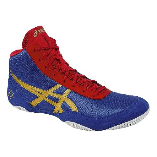 Mens ASICS JB Elite V2.0 Wrestling Shoe - Jet Blue/Oly Gold 11.5