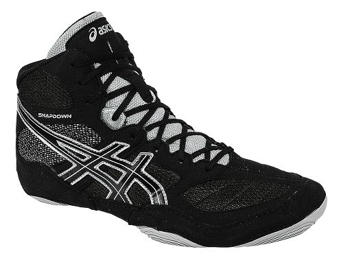 Mens ASICS Snapdown Wrestling Shoe - Black/Silver 6.5