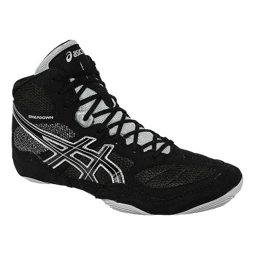 Mens ASICS Snapdown Wrestling Shoe - Black/Silver 5.5