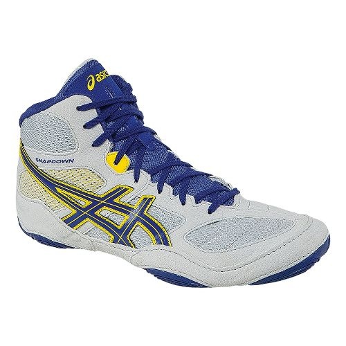 Mens ASICS Snapdown Wrestling Shoe - Grey/True Blue 9.5