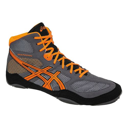 Mens ASICS Snapdown Wrestling Shoe - Grey/Orange 10.5