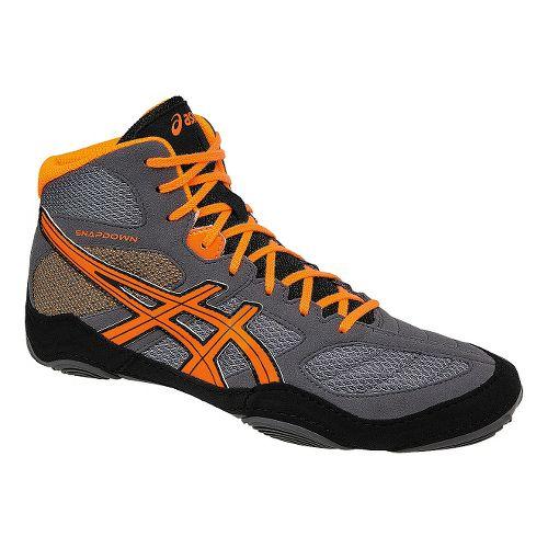 Mens ASICS Snapdown Wrestling Shoe - Grey/Orange 11
