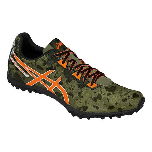 Mens ASICS Cross Freak 2 Track and Field Shoe - Green/Orange 9.5