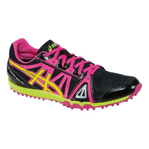 Womens ASICS Hyper-Rocketgirl XC Track and Field Shoe - Black/Hot Pink 5