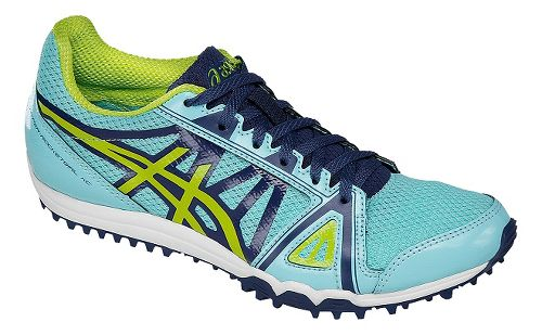 Womens ASICS Hyper-Rocketgirl XC Track and Field Shoe - Blue/Neon Lime 7