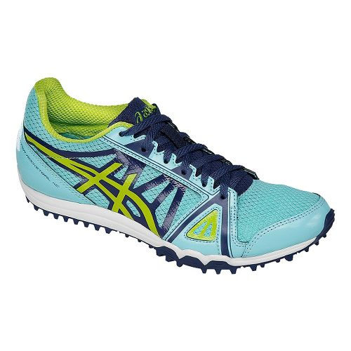 Womens ASICS Hyper-Rocketgirl XC Track and Field Shoe - Blue/Neon Lime 5