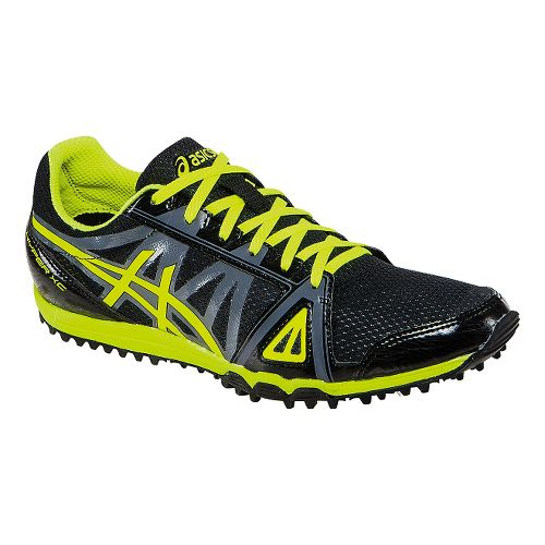 Mens ASICS Hyper XC Track and Field Shoe - Black/Flash Yellow 6.5