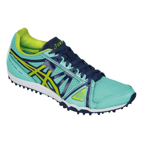 Womens ASICS Hyper-Rocketgirl XCS Track and Field Shoe - Blue/Neon Lime 9.5