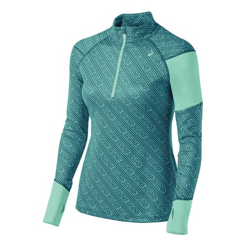 Womens ASICS Thermostripe Long Sleeve Half Zip Technical Tops - Mosaic Blue Stripe XS