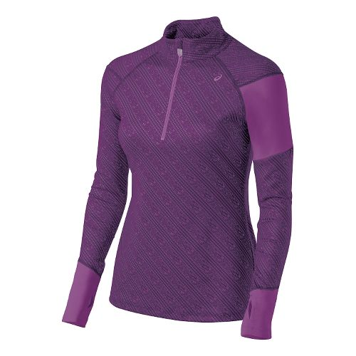 Womens ASICS Thermostripe Long Sleeve Half Zip Technical Tops - Blackberry Cordial XS