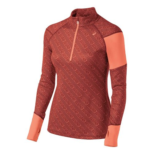 Womens ASICS Thermostripe Long Sleeve Half Zip Technical Tops - Deep Ruby Stripe L