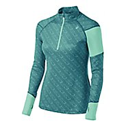 Womens ASICS Thermostripe Long Sleeve Half Zip Technical Tops