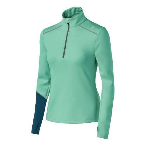 Womens ASICS Thermal XP Long Sleeve Half Zip Technical Tops - Aqua Mint/Blue XL
